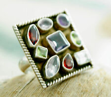 Silberring 56 Handarbeit Bunt Multistone Breit Ring Silber Eckig Steine Echt