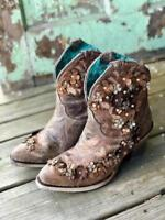 Corral Women's Tobacco Floral Overlay Ankle Boots A3679