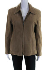 Burberry Womens Crew Neck Full Zip Lined Suede Jacket Coat Beige Size Small