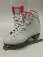 Riedell Spiral Ice Skates Size 7 2/3 White And Pink Stainless Steal Size 1