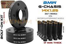 4 Pc BMW 5x112 Black Hub Centric Wheel Spacers 17mm +14x1.25 Lug Bolts G Chassis
