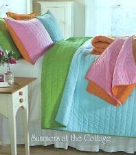 Aqua Turquoise Lime Green Nostalgia Pickstitch Shabby Beach Chic Pillow Sham