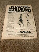Vintage 1978 MARYLAND MARATHON Print Ad 1970s 6TH ANNUAL RACE MEMORIAL STADIUM