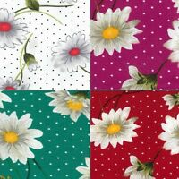 100% Cotton Poplin Fabric By Fabric Freedom White Daisy Flora Spots Polka Dots
