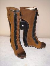 NEW Womens SOREL Cate the Great Tall Wedge Leather Boot Elk Sz 7.5 M #2276-286