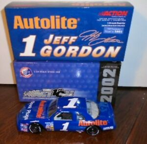 "NEW ACTION 2002 JEFF GORDON #1 AUTOLITE 1989 FORD THUNDERBIRD ""RACED 1991"", 1/24"
