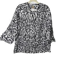 JM COLLECTION Linen Blouse Black White Animal Print 3/4 Sleeve Top Plus Size 16W