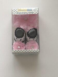 Vitamins Baby Infant Girls Pink & Black Novelty Headwrap & Socks Size 0-3 Months