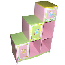 GIRLS CUBED STEP STORAGE TOY KIDS BOOKSHELF BOOKCASE KIDS WOODEN FURNITURE