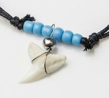 001 real blue shark tooth upper jaw turquoise beaded glass necklace adjustable