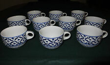 10 PIECES HANDPAINTED THAI BLUE AND WHITE CUPS - STACKABLE (JL11)