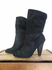 GAP Chic Black Suede High Heel Slouchy Fold Fall Stiletto Fashion Boots Women 9