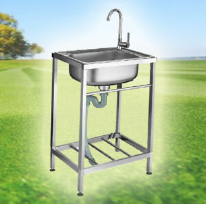 New Stainless Steel Metal Camping Sink Tap and Drainage Pipe Outdoor Wash Basin