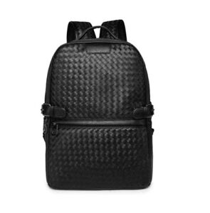 Luxury fauxleather men backpack fashion solid weave laptop rucksack shoulder bag