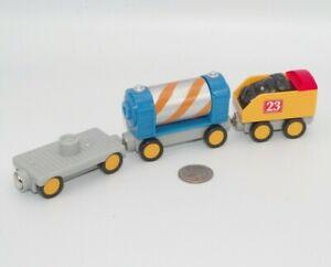 Toy State Train Lot x3 Spinning Barrel Car - Works w Thomas Wooden Railway, BRIO