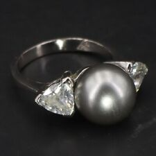 Cubic Zirconia Cluster Ring Size 8 - 5g Sterling Silver - Faux Gray Pearl & Cz