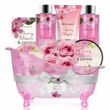 Bath Set for Women - Body&Earth 8 Pcs Gift Basket with Cherry Blossom & Jasmine