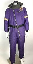 Vintage Medium Men's Snow Suit NFL Vikings Purple Sherpa Hooded Spell Out Full