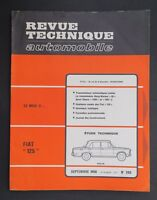 REVUE TECHNIQUE AUTOMOBILE RTA FIAT 125 BORG-WARNER 35 n°269