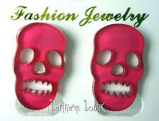 Goth : Boucles d' Oreille Clou Puce Tête de Mort FUCHSIA Transparent Gothique