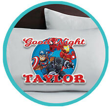 Avengers Personalized Pillow Case Pillowcase Gift Merchandise Merch Name Bedroom