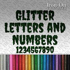 Glitter Letters & Numbers Iron HotFix FABRIC TSHIRT TRANSFER Halloween Stickers