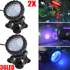 2Pack Submersible 36 Led Rgb Pond Spot Lights for Underwater Pool Fountain Home