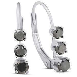1/2ct 3-Stone Black Diamond Earrings 14K White Gold