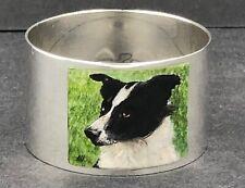 More details for exquisite sterling silver & enamel dog napkin ring signed ah bird 1993