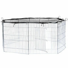Enclos avec filet de protection extérieur cage à lapin parc petits animaux noir