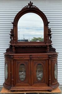 Antique European Cupboard Buffet Hunting Hunt Cabinet Etched Glass 9.5 feet tall
