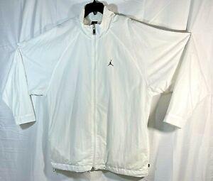 MICHAEL JORDAN Spellout Jumpman White Full Zip Nylon Track Jacket Lined Size 3XL