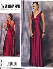 VOGUE SEWING PATTERN 1474 MISSES 4-12 DEEP V-NECK EVENING FORMAL MAXI DRESS/GOWN