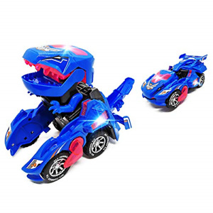 FGZU Dinosaur Transforming Toys, Dinosaur LED Cars Toys Combined Into One, Cars
