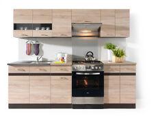 Küche 240cm Schränke, Küchenzeile erweiterbar Eiche - Wenge Neu&Schnell