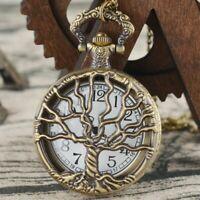 Vintage Hollow Pocket Watch Quartz Bronze Steampunk Pendant Retro Necklace Chain