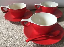 Melaware Vintage 1950s Retro Cups & Saucers x 3 With Spoon