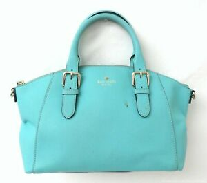 Kate Spade Turquoise Saffiano Leather Satchel Handbag Purse