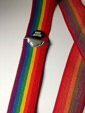 Vintage Retro Hipster Rainbow Suspenders Rock Justice Pin