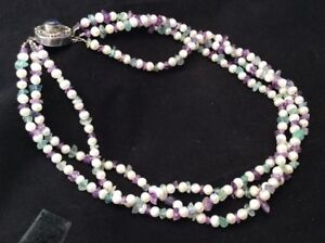 Fluorite beads FW pearl and Amethyst multi Strand Necklace & Stud Earrings Set