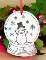 PERSONALISED CHRISTMAS TREE DECORATION BAUBLE GIFT ORNAMENT SNOWGLOBE SILVER
