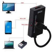 USA Micro USB MHL 2.0 To HDMI HDTV TV HD Adapter Cable for Cell Phone Samsung LG