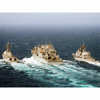 Miltary USA Navy Battleship Sterett Destroyer Convoy Photo Wall Art Canvas Print