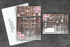 Wedding Invitations Personalized Invites and RSVP Farm Rustic Country Qty 50