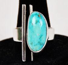 Sterling Modernist Robin's Egg Turquoise Ring Brutalist Modern Native American
