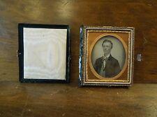 Antique Tintype Photo Case Booklet Green Velvet with Portrait of Man