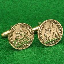 French Coin Cufflinks, Mercury Casuceus 50 Centimes France 3th Republic 1920s
