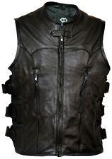 Premium Naked Cowhide Leather Motorcycle Biker Vest Waistcoat Adjustable Fit