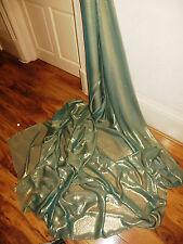 "1M  GREEN  /GOLD SHIMMER SOFT SELF PRINT  DRESS CHIFFON FABRIC 58"" WIDE"