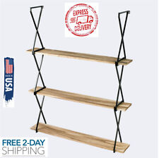 Rustic Floating Wood Shelves 3 Tier Wall Mount Hanging Display Book Storage USA